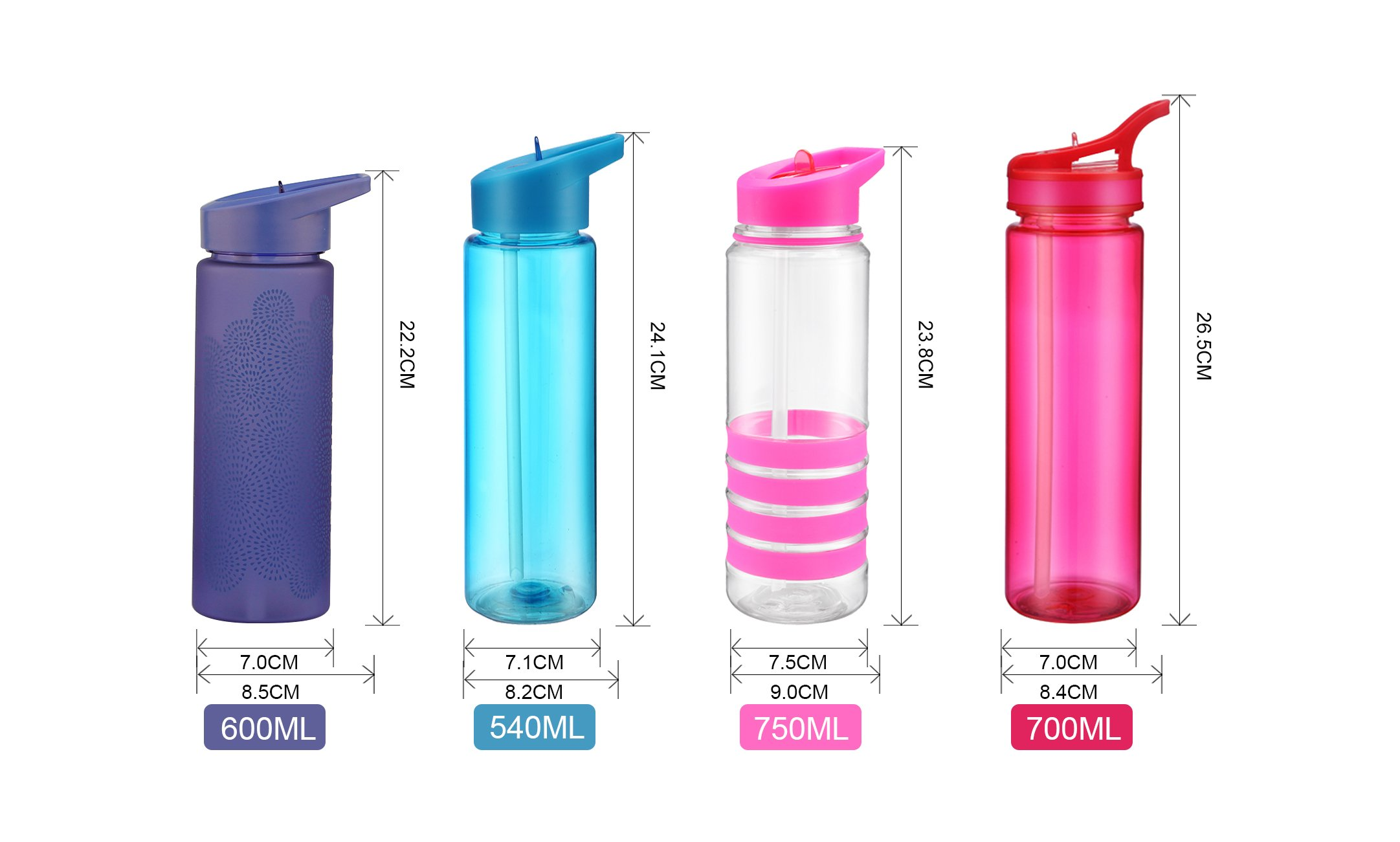 Sports water bottle with handle