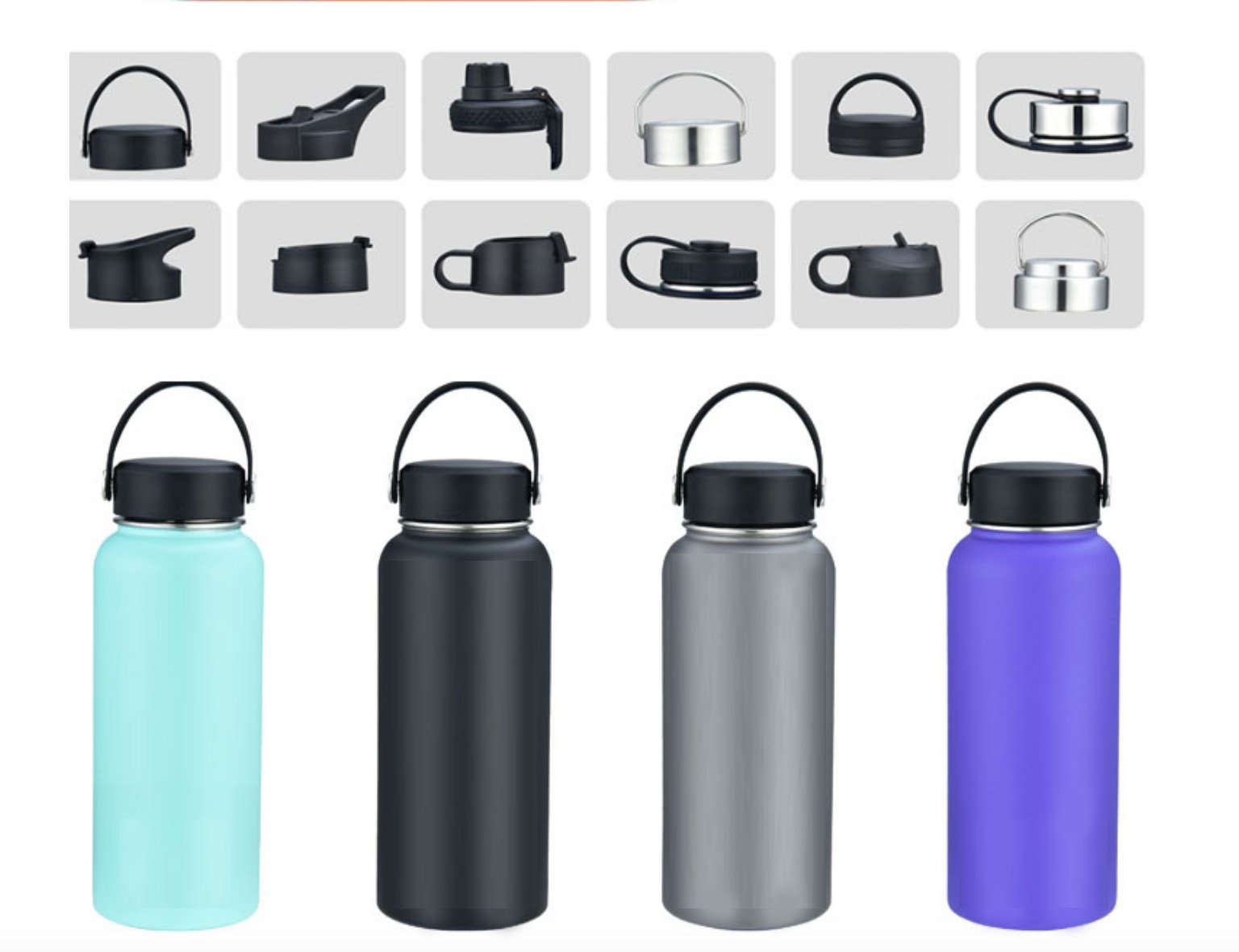Different cap options for hydro flask water bottle